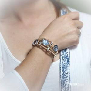 bransoletka korkowa azulejo na ręce