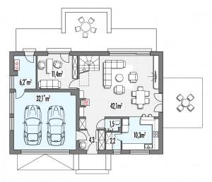 projekt taniego domu - rzut
